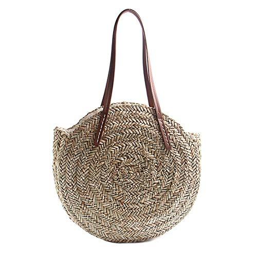Women Round Straw Shoulder Bag Tote Summer Woven Beach Bags