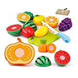 Gbell Kids Kitchen Set - 20Pcs Pretend Play Food Playset ,Cutting Fruits and Vegetables Educational...