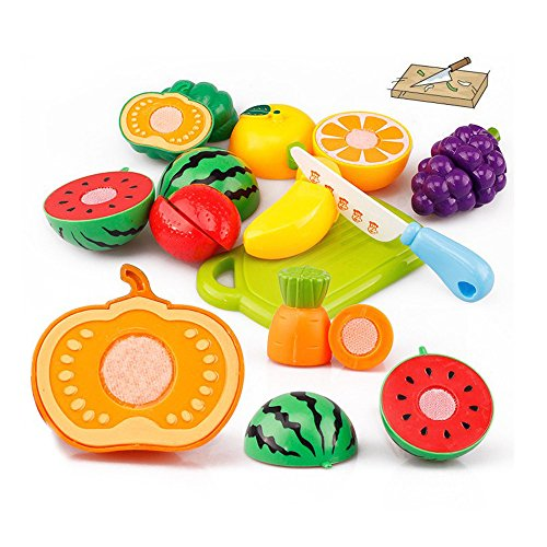 Gbell Kids Kitchen Set - 20Pcs Pretend Play Food Playset ,Cutting Fruits and Vegetables Educational Toy Gifts for Kids Toddler Boys Girls Ages 2 3 4 5 6 Year Old,Random Color (Random)