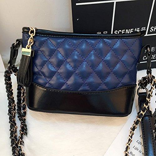 GUANGMING77 Lattice Chain Bag_Gitter Chain Bag Hobo Tasche blue