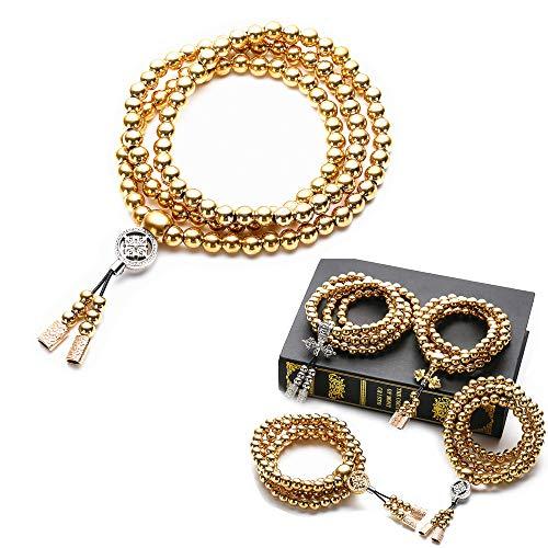 Autodefensa collar de acero inoxidable/collar de latón chain108 perlas de Buda decoración del coche colgante autodefensa...