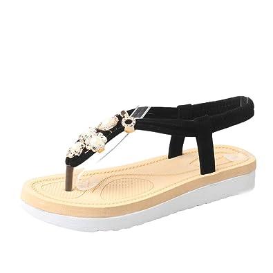 03948a5bc371b9 Halijack Women s Summer Sandals Rhinestone Bead Bohemia Folk Round Clip Toe  Sandals Boho Beach Flip Flops