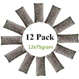 12 Packs Natural Air Purifying Bags 150g Each Pair Mini Bamboo Charcoal Bags Shoe Deodorizer and Odor Eliminator