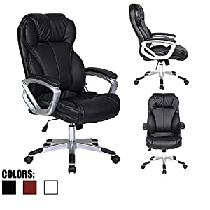 2xhome - Deluxe Professional PU Leather Tall and Big Ergonomic Office High Back Chair Boss Work Task Computer Executive Comfort Comfortable Padded Loop Arms Nylon Base Swivel Adjustable Seat Furniture for Conference Room Receiption...