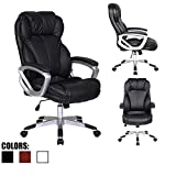 2xhome - Deluxe Professional PU Leather Tall and Big Ergonomic Office High Back Chair Boss Work Task Computer Executive Comfort Comfortable Padded Loop Arms (Black)