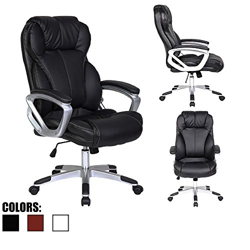 2xhome Deluxe Professional PU Leather Tall and Big Ergonomic Office High Back Chair Boss Work Task Computer Executive Comfort Comfortable Padded Loop Arms (Black)