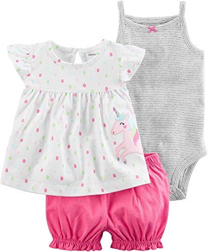 Carter's Baby Girls' 3 Piece Unicorn Bodysuit and Diaper Cov
