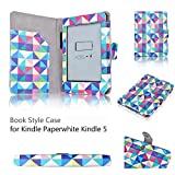 Amazon Kindle Paperwhite Case Square Multi Color Diamond Shape-Slim Folio PU Leather Smart Cover Stand Amazon All-NewKindlePaperwhite(Both2012and2013 versions)Auto Sleep Wake Feature and Stylus Holder
