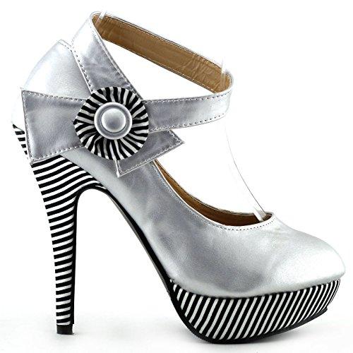 Mostrar historia flor Sexy tobillo correa raya estilete bombas zapatos de plataforma, LF30404 plata
