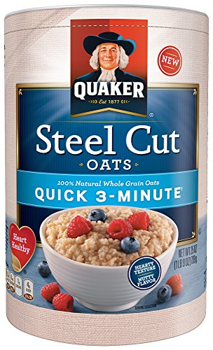 (Quaker Steel Cut Oatmeal, Quick 3 Minutes To Prepare, Breakfast Cereal, 25 oz Canister)