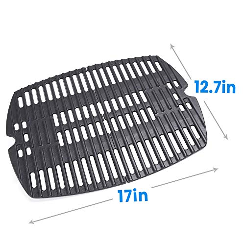 Hosom 7644 Porcelain Cast-Iron Cooking Grates for Weber Q100, Q1000 Series, Q1200, Q1400, Grill Parts Grill Grates Replace Weber 7644 Models(Set of 2, 17'' x 12.7'' for Total)