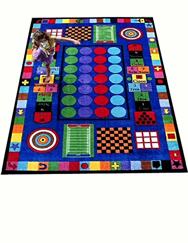 Kids World Carpets Game Times #2039 6'6'' x 8'4'' children's educational and play rug by Kids World Carpets