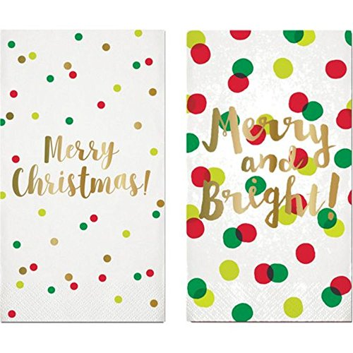 Slant Collections Disposable Holiday Guest Towels Gold Foil Paper Napkins, Merry Christmas and Merry and Bright, Set of 2 Packages of 16, White