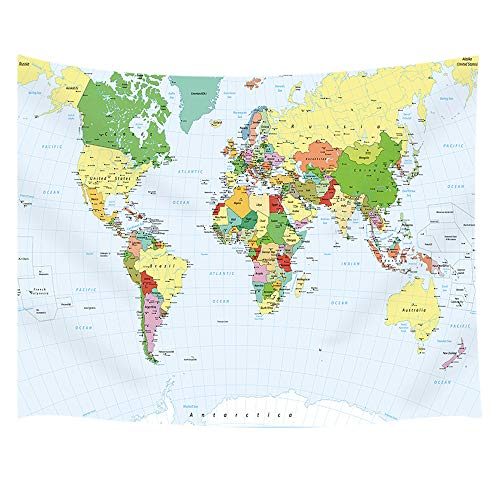 JAWO Map Decor Tapestry Wall Hanging, Detailed Political World Map and Water Objects, Polyester Fabric Wall Tapestry for Home Living Room Bedroom Dorm Decor 80W X 60L Inches