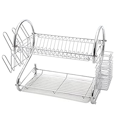 2-Tier Stainless Steel Dish Drying Rack by Juvale