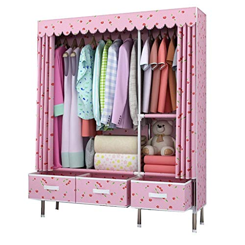 DYR Simple with mounting Drawer Wardrobe Steel Cabinet Thickening Reinforcement Fabric Thickening Wardrobe Large Double Wardrobe with Single Wardrobe (Color: Pink) ()