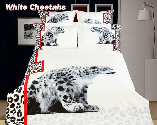 Dolce Mela White Cheetahs, 6 PCs Animal Themed Bedding, Full or Queen Size Egyptian Cotton Duvet Cover Set in Gift Box Fine Linens Bed in a Box, Bridal Shower, Birthday, Housewarming Idea, DM431Q ()