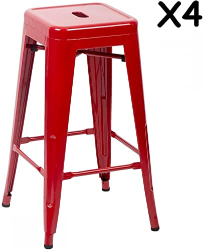 Metal Stools Bar'stools 30 Inch Height Stackable Barstools Indoor Outdoor Dining Backless Kitchen Bar Stools Set Of 4