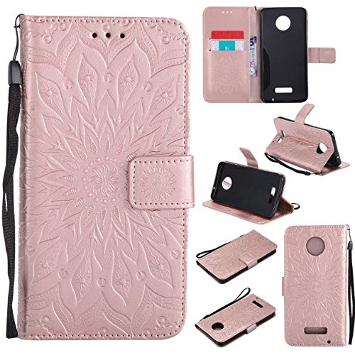 Price comparison product image Moto Z Force Wallet Case,A-slim(TM) Beauty Fashion Sun Pattern Embossed PU Leather Magnetic Flip Cover Card Holders & Hand Strap Wallet Purse Cover Case for Motorola Moto Z Force - Rose Gold
