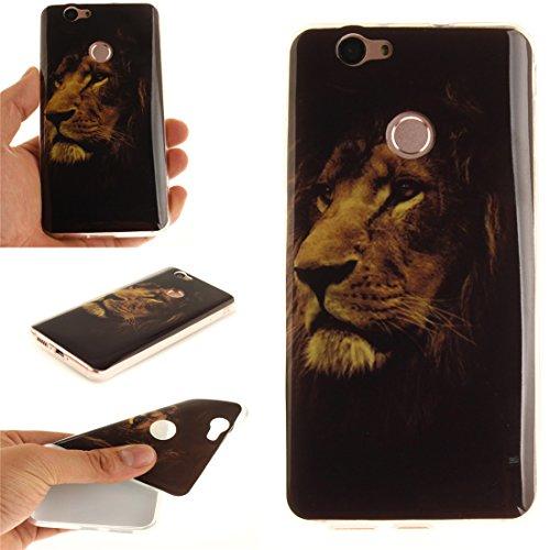 Hozor Huawei Nova Cas, Motif Peint TPU Souple En Silicone Couverture Arrière Slim Fit Antichoc Scratch Résistant Cas De Téléphone De Protection Bord Transparent tiger