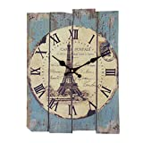 GTKRTU Wall Clocks, Vintage European Style Roman Numeral Design Silent Rectangle Wooden Wall Clock Decorative Clock for Living Room Kitchen Bedroom (Solid Wood)