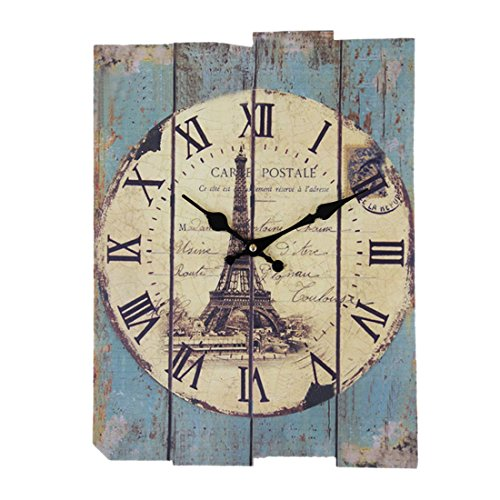 GTKRTU Wall Clocks, Vintage European Style Roman Numeral Design Silent Rectangle Wooden Wall Clock Decorative Clock for Living Room Kitchen Bedroom (Solid Wood) by GTKRTU