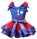 Petitebella My 1st Fourth July Blue Shirt US Hat Red Petal Skirt Set Nb-2y (3-12 Months)