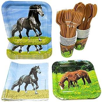 Amazon.com: Wild Horses Birthday Party Supplies Set Plates Napkins ...
