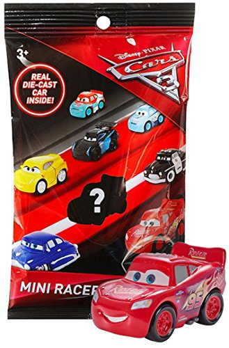 (Cars 3 Die-Cast Mini Racers in Sealed Bag, Plus Cars 3 Officially Licensed Sticker by Disney Pixar - Lightning Mcqueen (Lightning Mcqueen))