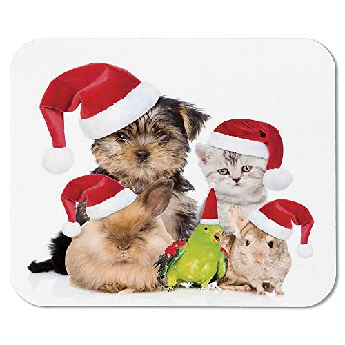 Christmas Ordinary Mouse Pad,Xmas Crew Cat Dog Bird Mouse and Rabbit Bunny with Santa Hats Grumpy Pets Picture for Computers Laptop Office & Home,7.87''Wx9.45''Lx0.08''H