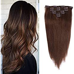 18 inches Clip in hair Extensions Remy Human Hair - 70g 7pcs 16 Clips Straight Thick 100% Real Human Hair Extensions for Women Medium Brown #4 Color