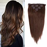 14 inches Clip in hair Extensions Remy Human Hair - 70g 7pcs 16 Clips Straight Thick 100% Real Human Hair Extensions for Women Medium Brown #4 Color