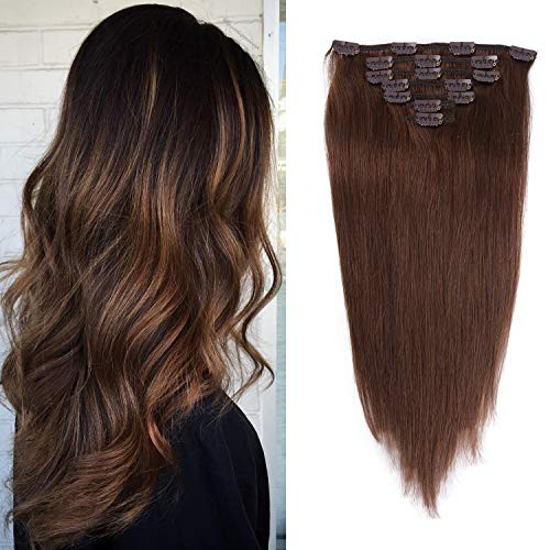 12 inches Clip in Hair Extensions Remy Human Hair - 70g 7pcs 16 Clips Straight Thick 100% Real Human Hair Extensions for Women Medium Brown #4 Color