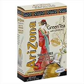 AriZona Green Tea with Ginseng Sugar Free Iced Tea Stix, Low Calorie Single Serving Drink Powder Packets, 10 Count (Pack of 12) 3 HAVE TEA, WILL TRAVEL: Everything you love about AriZona Iced Tea, now in convenient Stix you can take to go! AriZona Iced Tea Stix fit easily in your bag, purse or pocket. Add water for delicious Green Tea with Ginseng, any time or place in an instant DRINK SUGAR FREE: AriZona Iced Tea Stix are sugar free and sweetened with Splenda, for a big taste that's light on calories. Just tip a single-serving packet into a 16 or 20 ounce bottle of crystal clear water, screw the cap back on, shake well and enjoy! TRY EVERY FLAVOR: Start with our Green Tea, then branch out! Get fruity with Pomegranate, Peach, and Lemon Tea, or go half and half on an Arnold Palmer. Get amped with an AriZona Extra Strength Energy Shot, or take your drink to go with AriZona Iced Tea Stix