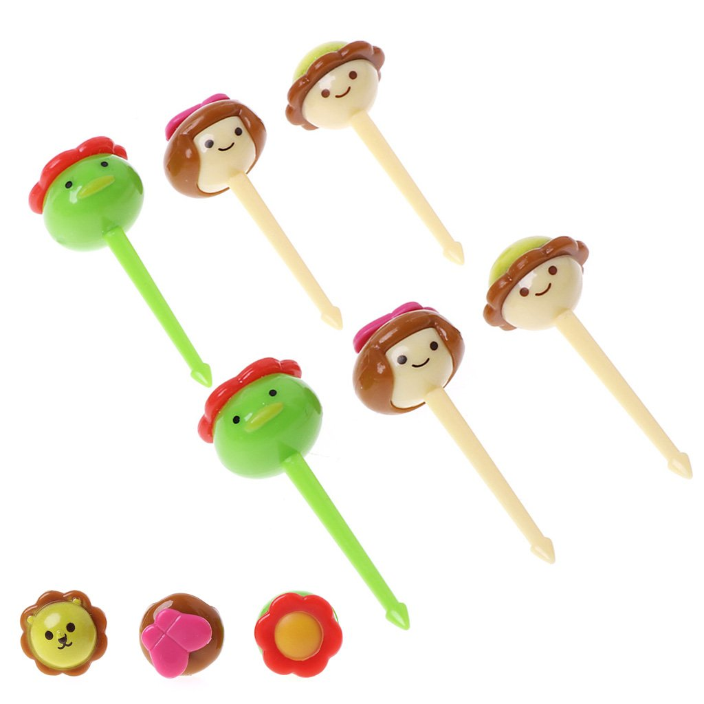 Cicitop Mini Kawaii Animal Farm Cartoon Food Forks, 6 Pcs, Suitable for Picking Sandwich, Fruit, Snacks on The Occasion of Celebration.
