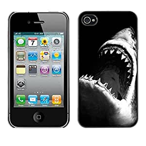 - Jaws Shark Black White Surfing Surf For iPhone 4 / 4S Hard Snap On Cell Phone Case Cover @ Cat Family