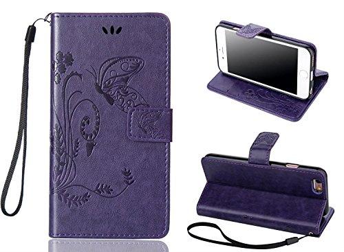 iPhone 6S Plus Case, Welity Vintage Butterfly Flip Folio PU Leather Kickstand Wallet Purse Case with Wristlet & Credit Card Slots Cash Holder for Apple iPhone 6 Plus (Purple)