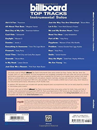 Amazon.com: Billboard Top Tracks Instrumental Solos: Trombone, Book & CD (Instrumental Solos Series) (0038081501758): Bill Galliford: Books