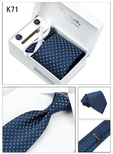 limited edition!Mens bule Tie Including Cufflinks and scarf and tie Clip Set k71