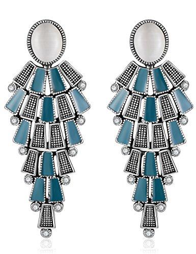 XZP Opal Clip On Earrings Chandelier Retro Tiered Dangle Bohemian Clips Earrings for Women