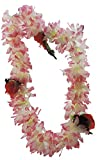 Tropical WHITE & PINK Hawaiian Lei Polynesian Faux Hybiscus Flower Necklace