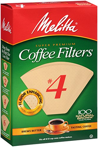 Cone Filter Paper Natural - Melitta Cone Coffee Filters, Natural Brown, No. 4, 100-Count Filters (Pack of 6)