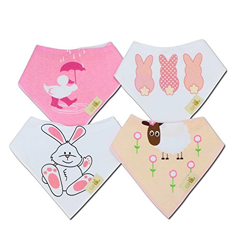 Gift it! Baby Bandana Drool Bibs With Snaps For girls – Little pink bunny - Super Absorbent, Soft, Organic cotton & Modern design Set of 4 - Cute Baby Shower Gift.