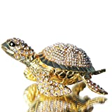 Waltz&F Diamond turtles Hinged Trinket Box Hand-painted Animal Figurine Collectible (Gold)