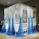 Joyreap 4 Corners Post Canopy Bed Curtains for Girls - Blue & White Cozy Drape Netting - 4 Openings Mosquito Net - Cute Princess Bedroom Decoration Accessories (Ocean Blue,59'' W x 78'' L,Full/Queen)