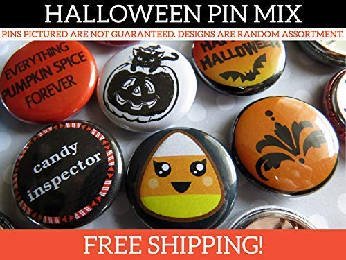 "Random Halloween Pin Back Button Pins - Halloween Party Favors - Bulk Resale Wholesale Lot - 1"" (One Inch) Mini Size - 10-250 Per Unique Set from Buttonhead"
