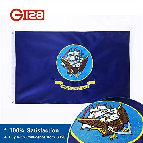Eagle Polyester Flag - G128 - U.S. Navy Flag 2ftx3ft 2x3 2'x3' Double Sided 2ply Embroidered Heavy Duty Brass Grommets