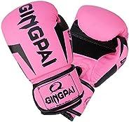 GINGPAI Boxing Gloves for Men Women Kids, Pro Leather Punching Bag Training Gloves for UFC MMA Muay Thai Taekw