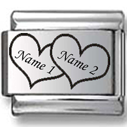 Custom Names in Hearts Laser Italian Charm by CharmsLand (Image #2)