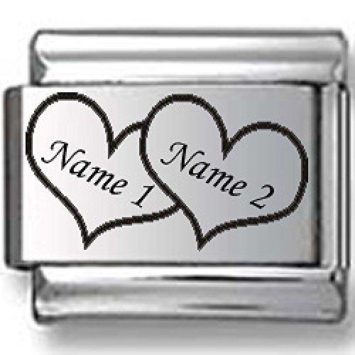 Custom Names in Hearts Laser Italian Charm